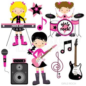 Girls Rock Cute Digital Clipart, Rock Band Clip Art