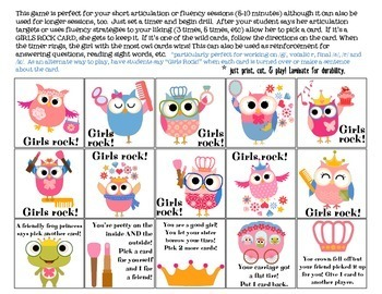 Girls Rock Quick Drill {for articulation or fluency therapy & RTi}