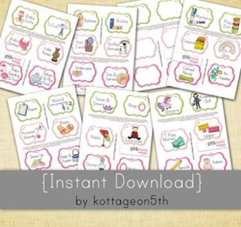 Girls Room Bundle - 42 Labels - 7 Files - Unlimited Printa