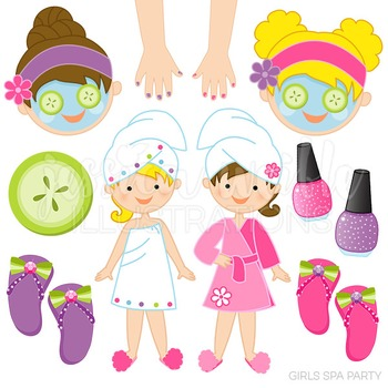 Girls Spa Party Cute Digital Clipart, Facial Clip Art, Manicure