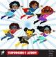 Girls Superhero clip art, Supergirl clipart, African american, Multicultural