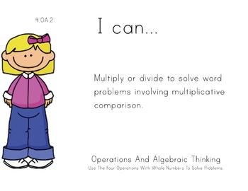Girls Theme 4th grade math Common Core Posters fourth Grade Standards