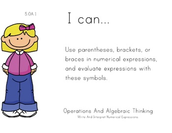 Girls Theme 5th grade math Common Core Posters Fifth Grade Standards