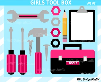 Girls tool box clipart commercial use