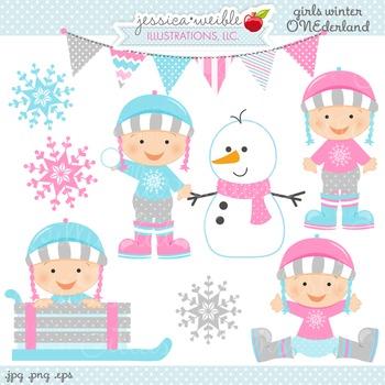 Girls Winter ONE-derland Cute Digital Clipart, Baby Girl Winter Graphics