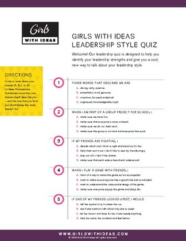 Girls With Ideas Leadership Style Quiz