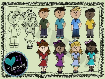 Girls and Boys Clip Art for Personal or Commercial Use