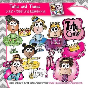 Girls in Tutus and Tiaras clip art