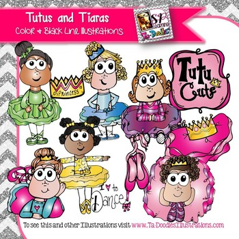 Girls in Tutus and Tiaras clip art