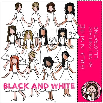 Girls in White clip art - BLACK AND WHITE - by Melonheadz