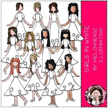 Girls in White clip art - by Melonheadz