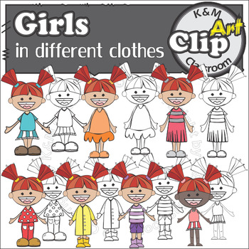 Girls in different clothes - Clip Art & Line Art