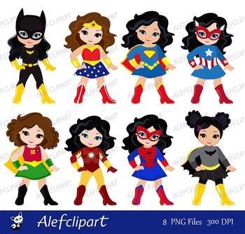 Girls in superhero costume. Instant Download.