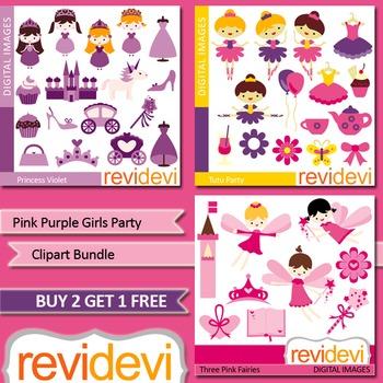 Girls party clip art (3 packs) princess, ballerina, fairies (pink, purple)