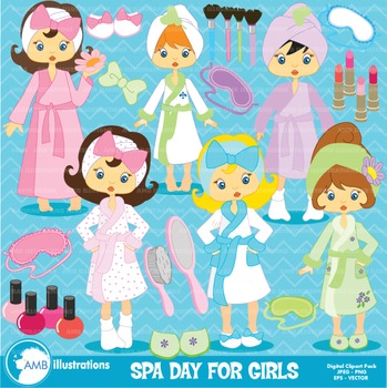 Girls Clipart, Spa Day Clipart, AMB-206