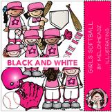 Girl's softball clip art - BLACK AND WHITE- by Melonheadz