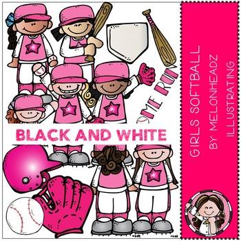 Melonheadz: Girl's softball clip art - BLACK AND WHITE