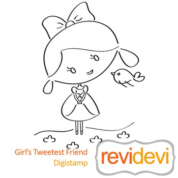 Girls tweeted friend (digital stamp, coloring image) S015, girl and bird