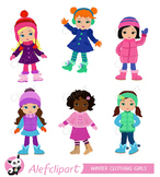 Girls winter clothing clipart set