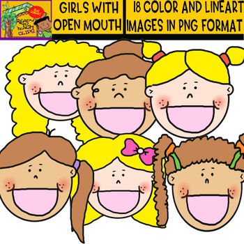 Girls  with Open Mouth - Clipart set - blond and dark kids - 18 Items