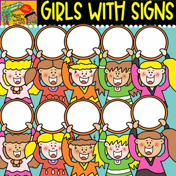 Girls with Signs - cliparts Set - #15 Items