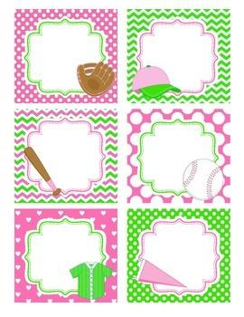 Girly Baseball Notes Cards
