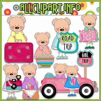 Girly Bears Road Trip Clip Art - Cheryl Seslar Clip Art
