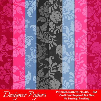 Girly Chic Colors Floral Pattern Digital Papers