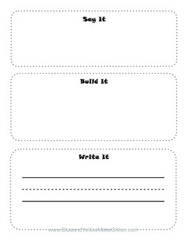 Sight word say, write, build