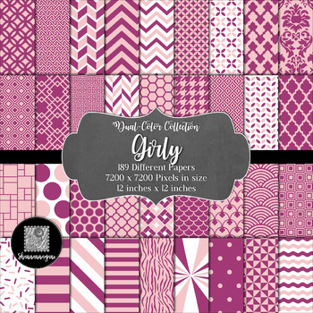 Girly Digital Paper Collection 12x12 600dpi