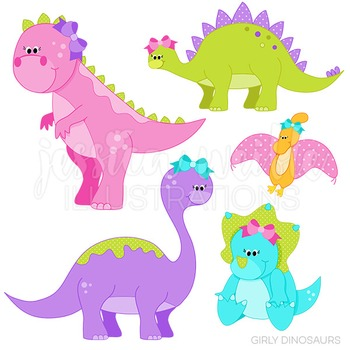 Girly Dinosaurs Cute Digital Clipart, Dinosaur Graphics