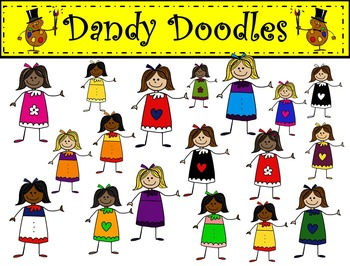 Girly Girls Clip Art by Dandy Doodles