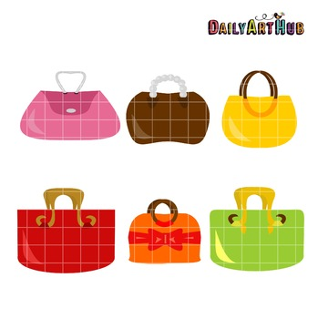 Girly Handbags Clip Art - Great for Art Class Projects!