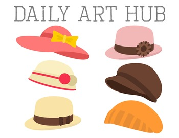 Girly Hats Clip Art - Great for Art Class Projects!