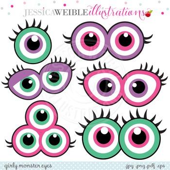 Girly Monster Eyes Cute Digital Clipart, Monster Face Graphics