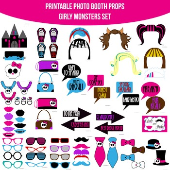 Girly Monsters Printable Photo Booth Prop Set
