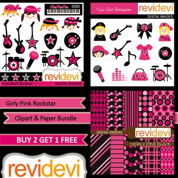 Girly Music Rockstar Pink Black Clip art (3 packs)