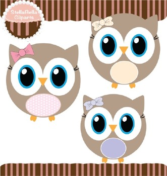 Girly Owls Clipart with Bows and Polka dots