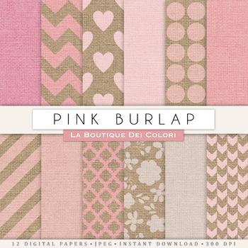 Girly Pink Burlap Digital Paper, scrapbook backgrounds