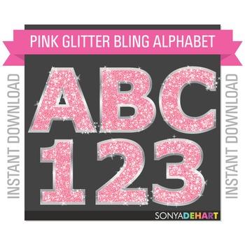 Alphabet - Pink Glitter Bling