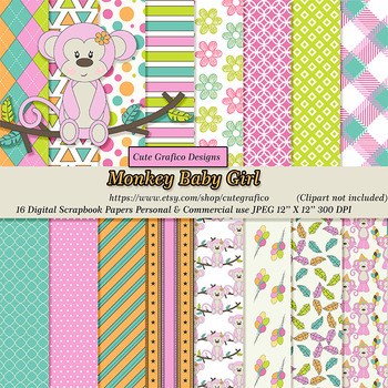 Girly Pink Monkey Clipart, Digital Paper, Pink, Lime, Turquoise, Brown, Orange