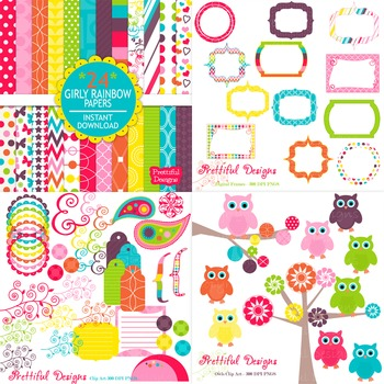 Girly Rainbow Digital Paper and Clip Art Kit Commercial Use