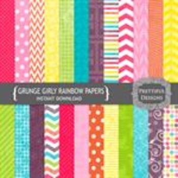 Girly Rainbow Grunge Textured Paper Pack