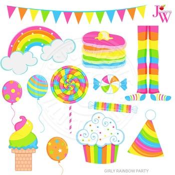 Girly Rainbow Party Cute Digital Clipart, Rainbow Graphics