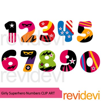 girly superhero numbers clipart by revidevi teachers pay teachers rh teacherspayteachers com