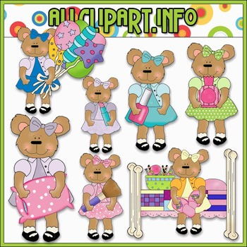 Girly Time Bears Clip Art - Cheryl Seslar Clip Art