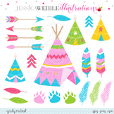 Girly Tribal Cute Clipart, Pink TeePee Graphics, Tribal Clip Art, Arrows