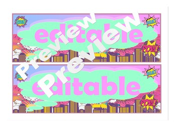 Girly edition super hero editable labels back to school decor