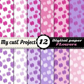 Girly flower digital paper - Romantic digital paper - Flower scrapbooking