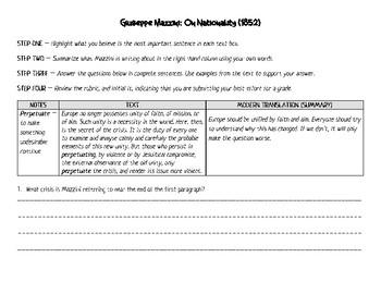 Giuseppe Mazzini: Document Based Analysis